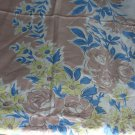 Vintage Printed Tablecloth Tan/Blue/Yellow Roses Floral Square 53 x 48 Inches