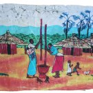 Hand Crafted African Batik Wall Hanging Women Pounding Roots by Lotti Ai Malimbasa