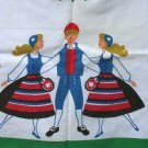 Vintage Printed Tablecloth or Topper Folk Dancing 32 x 35.5 Inches