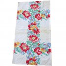 Vintage Screen Print Cotton Kitchen Towel Floral Print
