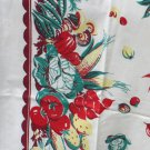 Vintage Cotton Screen Printed Tablecloth 46 Inches Square - Vegetable Border Print