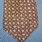 Donna Karan Paisley Silk Tie Necktie Brown C144 ~
