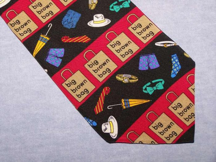 Vicky Davis Big Brown Bag Silk Tie Necktie C26 ~