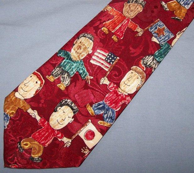 Dino Romaro Novelty Children of the World Tie Necktie C119 ~