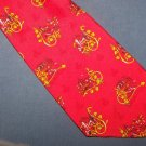 Andre Lurton Creation Projectif Red Silk Tie Necktie C77 ~