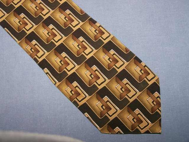 Facets Brown Black Geometric Silk Tie Necktie C82 ~