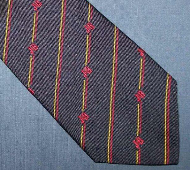 J&B Rare Scotch Navy Blue Striped Skinny Silk Tie Necktie C22 ~
