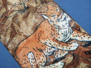 Lost Kingdom Animal Lynx Cat Bobcat Tie Necktie C11 ~