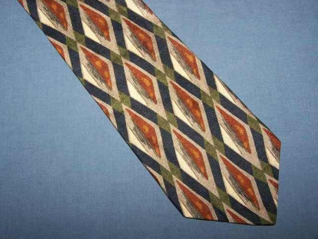Cellini Blue Brown Bold Silk Power Tie Necktie C111 ~