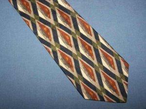 Cellini Blue Brown Bold Silk Power Tie Necktie C111 ~