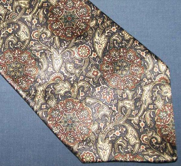 Oscar de la Renta Shiny Paisley Blue Tie Necktie C13 ~