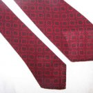 "Vintage Unlined Wool Tie 2 1/4"" Botany Red Black C78 ~"