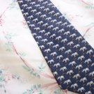 Navy Blue Silk Tie with Elephants and Rings W71