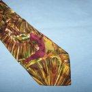 Brown Swirly Shiny Character Silk Tie Necktie