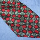 Pierre Balmain Red Black Patterned Silk Tie