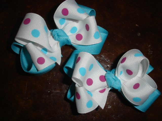 SET of 6 Small Tots LAYERED Boutique HAIRBOWS girls bows baby toddler