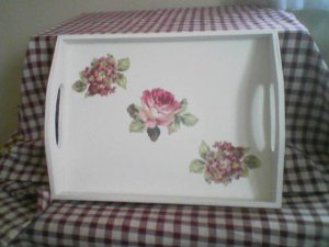 White Serving Tray with Roses