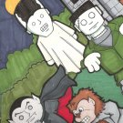 4 piece set of classic monsters sketch card atc aceo