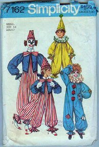 Simplicity Pattern 7162 Clown Party Halloween Costume Adult Small size 34 uncut