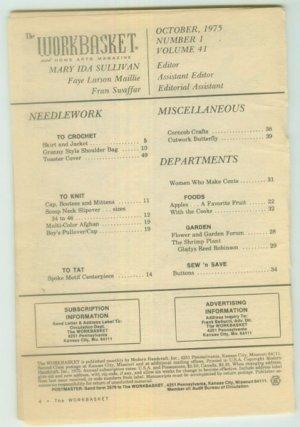 Workbasket October 1975 Needlework, Sewing, Crafts, Foods, Gardening