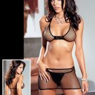 3 Piece Fishnet Open Back Bra & Skirt Set
