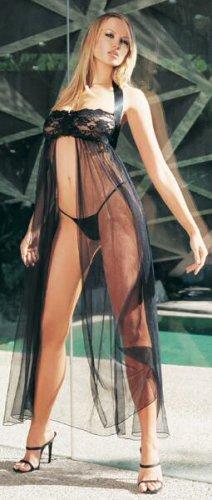 2 Piece Halter Lace Top Mesh Gown Set -Queen Size