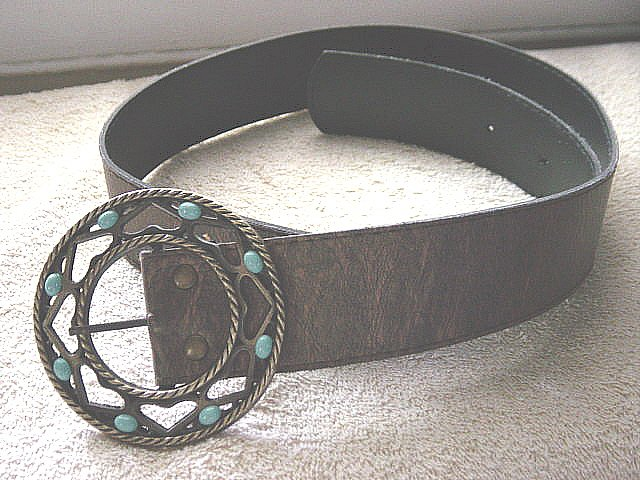 Bronzed Leather or Vinyl Belt Circle Brass Buckle #900016