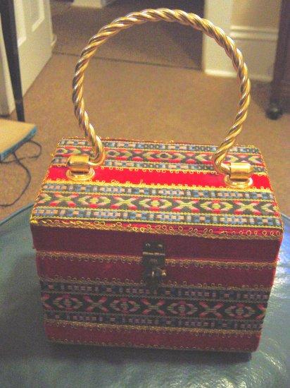 Square Handbag Purse Covered in Red Velvet Gold Handle #900031