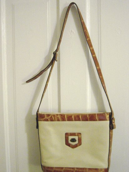 Hand Crafted Cream and White Original Etienne Aigner Shoulder Bag at The Clothes Horse #900053
