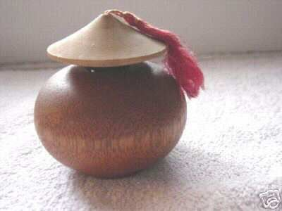 Vintage Wooden Asian Style Perfume Bottle #900159