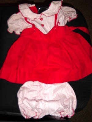 Vintage Hand Made Red and White Baby Dress and Bloomers  #900183