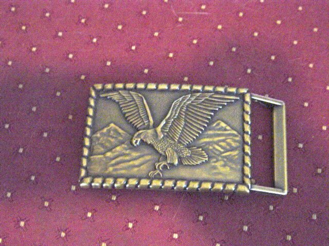 American Eagle and Mountains Brass Belt Buckle #900254