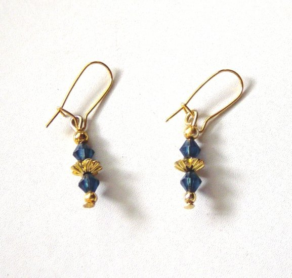Gold Tone Wire Earrings with Blue Bead Dangles #900340