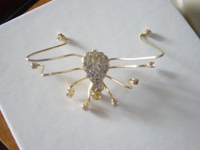 Golden Rhinestone Spider Brooch Pendant  #900341