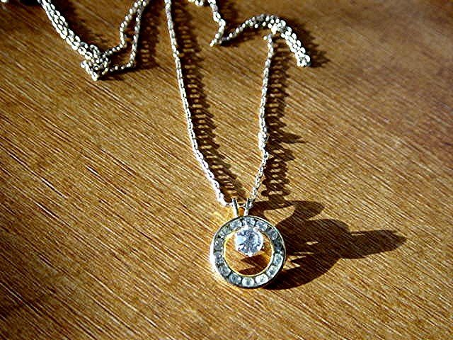 Gold Tone Chain Necklace with Circle of Rhinestones  #900362