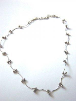 Silver Choker Scallops Silver Balls Necklace #900376