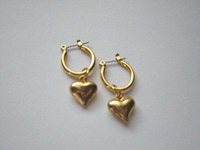 Pair of Gold Tone with Hearts Hoop Pierced Earrings  #900391