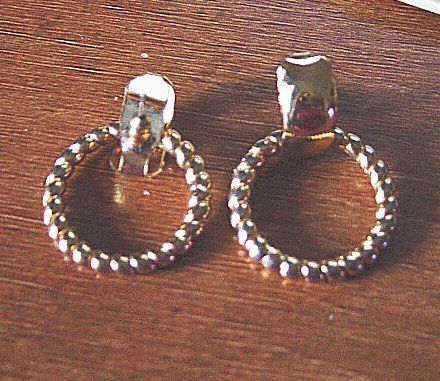 Pair of Gold Tone Door Knocker Pierced Earrings   #900392