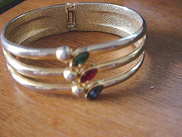 Gold Tone Cuff Bracelet Colored Rhinestones  #900397