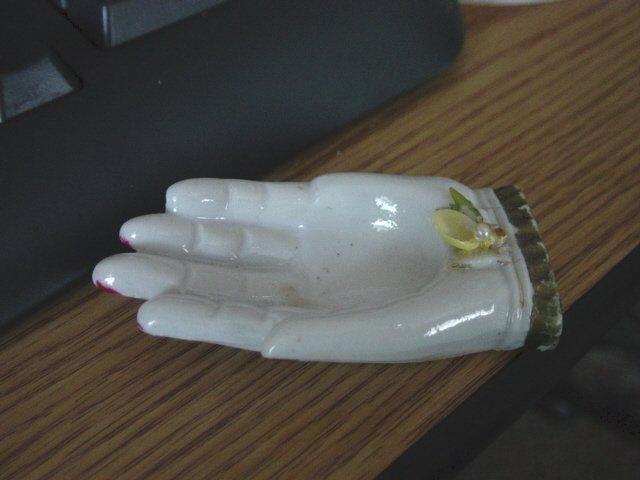 Small White Novelty Hand Jewelry Tray Made in Japan #900454