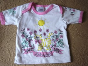 Adorable White Girl's Top 3-6m  Infant clothes  #900472