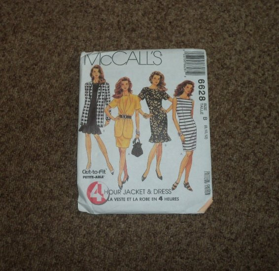 McCall's 6628 Cut to Fit Hour Jacket  & Dress Pattern Size B (8,10,12) #900542