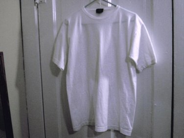 Woman's 100% Cotton White Commodity Clothing Round Neck Shirt Top Size L  #900503