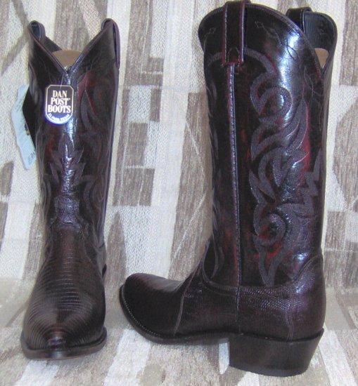 DAN POST Black Cherry LIZARD NEW Cowboy Boots Men's 8 EW Free Shipping