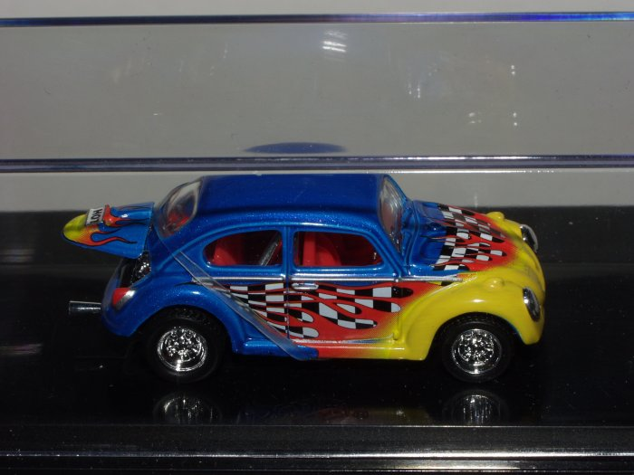Hot Wheels 2002 100% Black Box 1966 VW Bug...Blue and Yellow 1/64 Scale