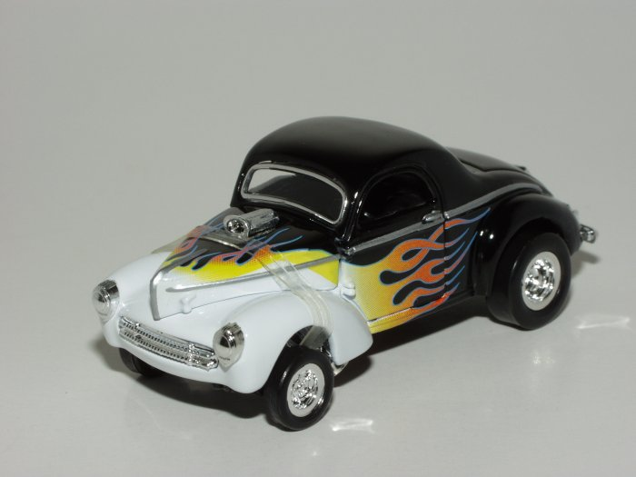 Hot wheels 2001 100% Black Box 1941 Willys Black with Flames 1/64 Scale Loose