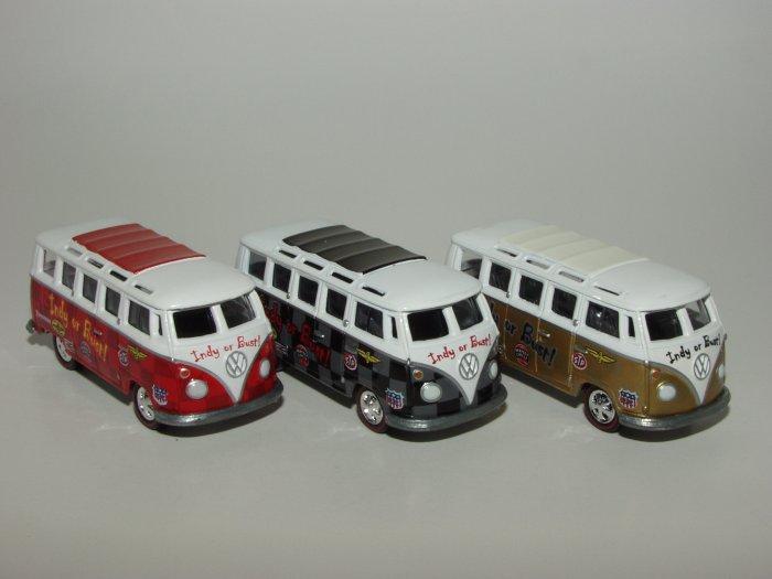 Johnny Lightning Liberty Promo JL '66 VW Ragtop Bus Indy or Bust 3 Car Set 1/64 Scale Loose