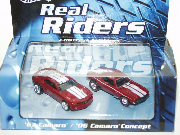 Hot Wheels Real Riders Camaro 2 Car Set Red With White Stripes
