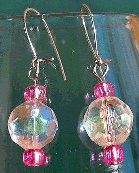 Princess Pink And Iridescent Aurora Borealis Sparkle Drop Earrings Silver Handmade New