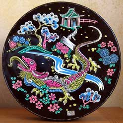 Huntley and Palmers Vintage Black Lotus Biscuit Cookie Tin with Dragon and Flowers 1963